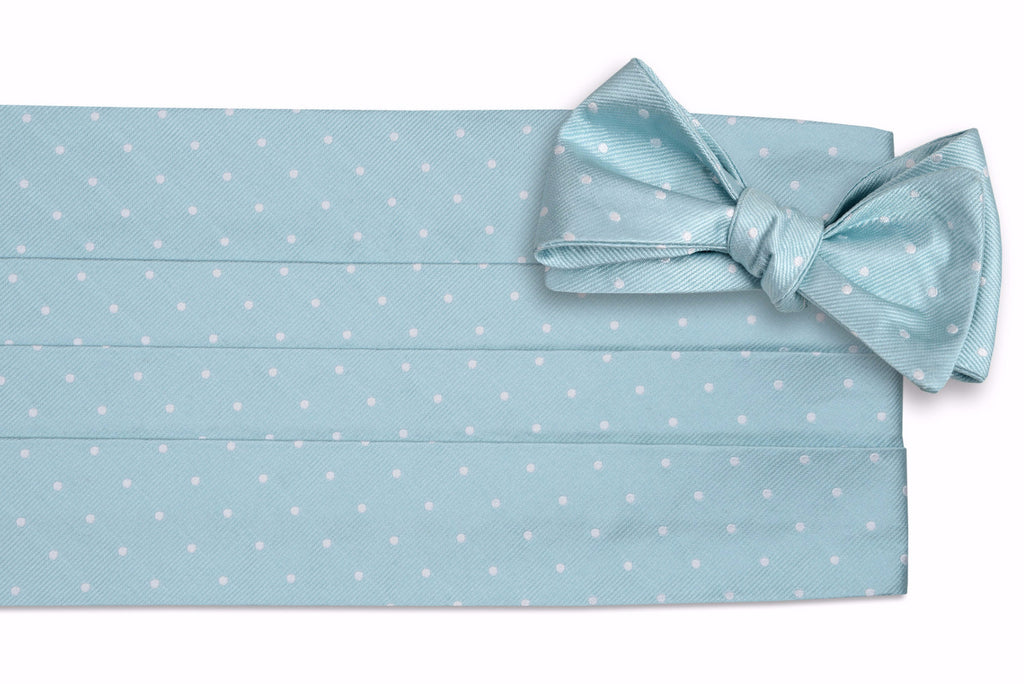 Misty Seafoam Dot Cummerbund Set
