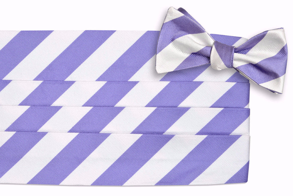 Soft Lavender and White Stripe Cummerbund Set