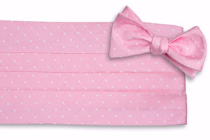 Pale Pink Dot Cummerbund Set