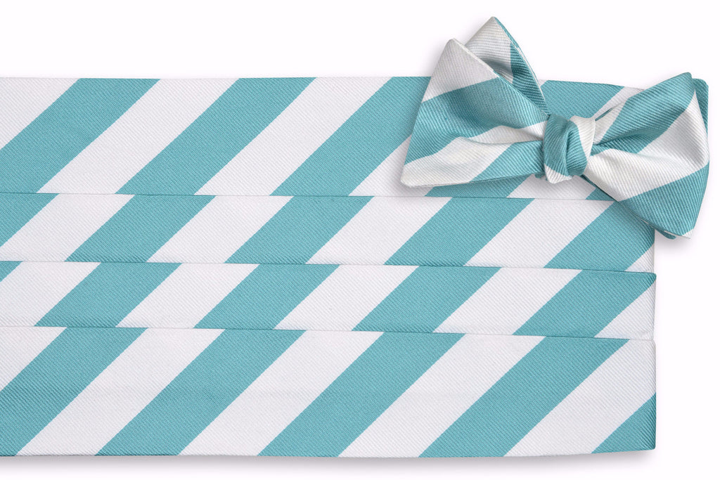 Light Sea Green and White Stripe Cummerbund Set