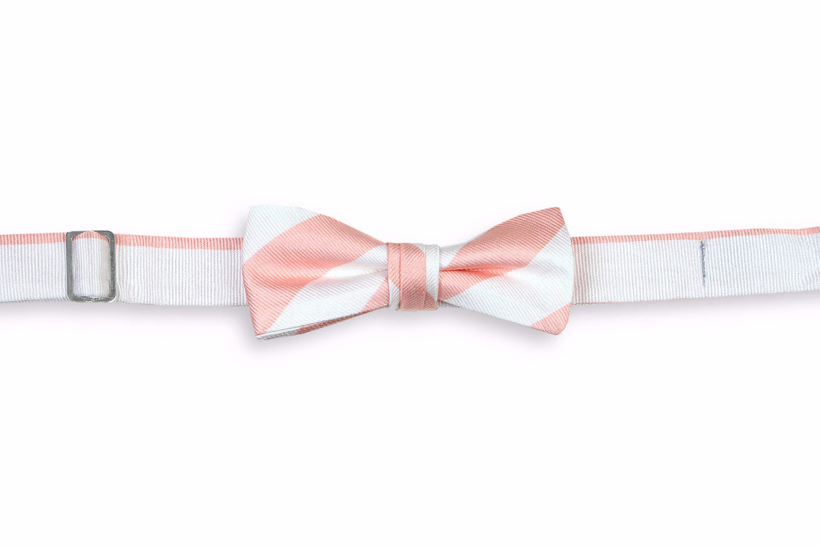 Peach and White Stripe Boy's Bow Tie