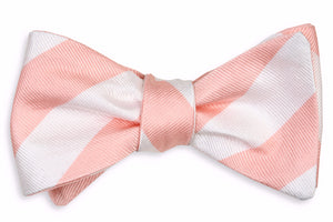 Peach and White Stripe Bow Tie