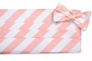 Peach and White Stripe Cummerbund Set