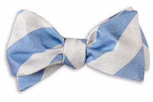 Cornflower and White Stripe Bow Tie