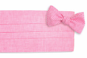 Watermelon Linen Gingham Cummerbund Set