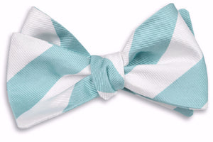 Misty Seafoam and White Stripe Bow Tie