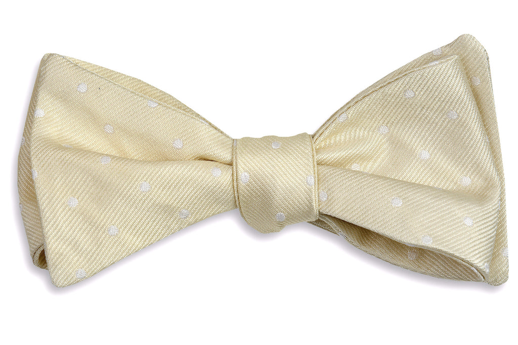 Light Champagne Dot Bow Tie