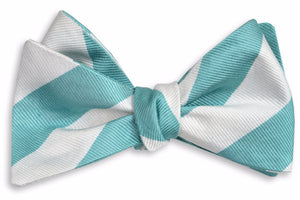 Light Sea Green and White Stripe Bow Tie