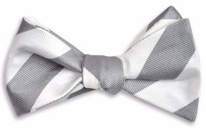 Dusty Gray and White Stripe Bow Tie