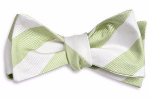 Spring Green and White Stripe Bow Tie