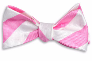True Pink and White Stripe Bow Tie