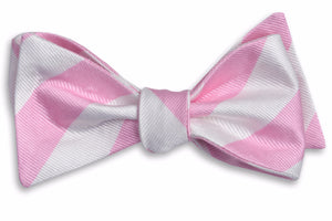 Pale Pink and White Stripe Bow Tie