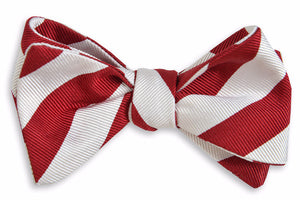 All American Stripe Bow Tie - Crimson And White