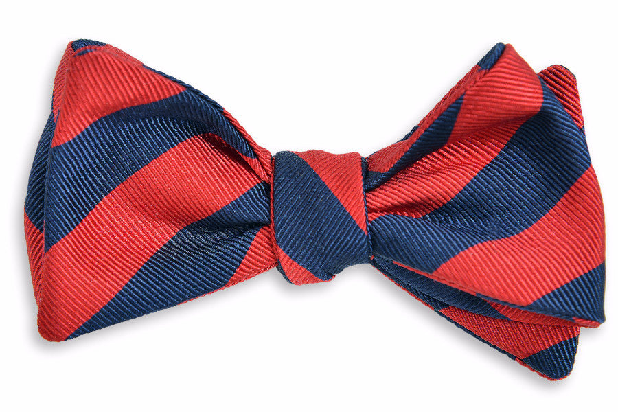 All American Stripe Bow Tie - Red and Navy