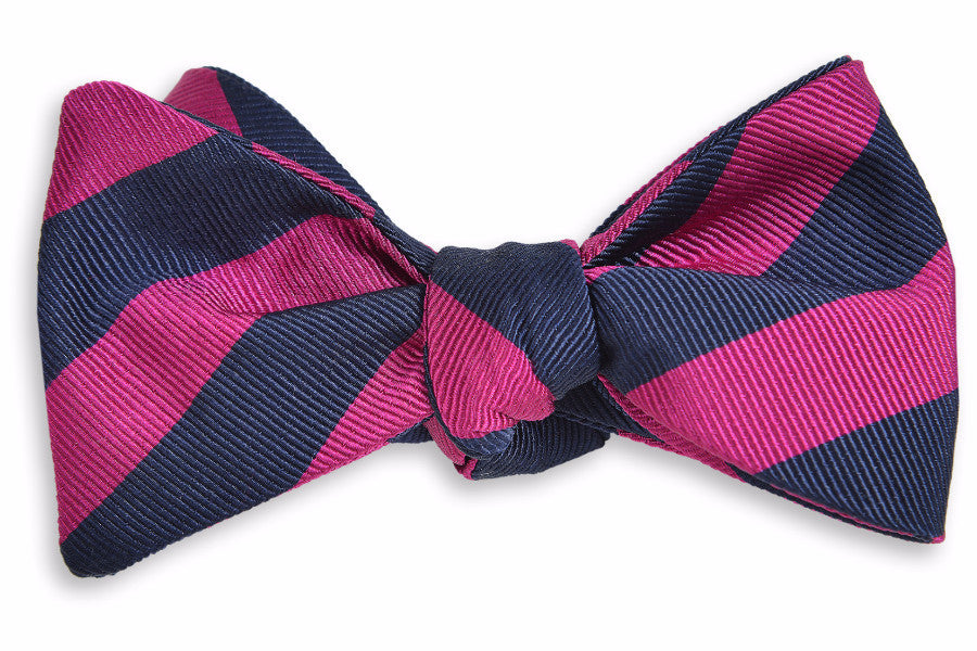All American Stripe Bow Tie - Pink and Navy