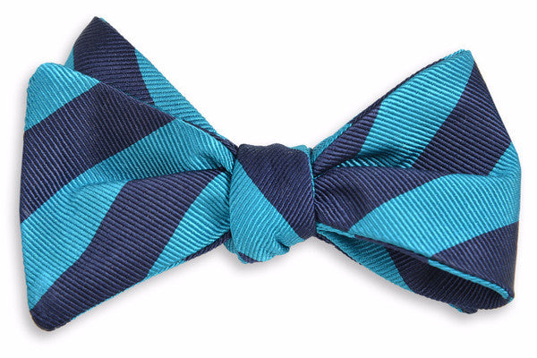 All American Stripe Bow Tie - Teal And Navy