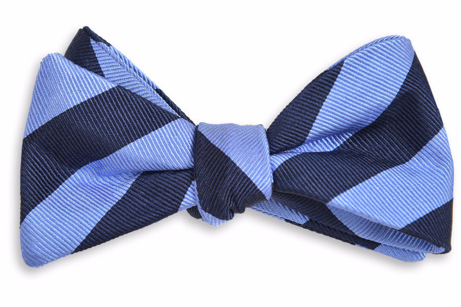 All American Stripe Bow Tie - Powder and Navy