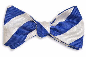 All American Stripe Bow Tie - Royal and White