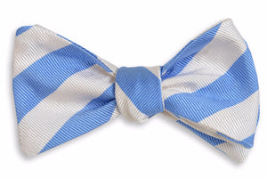 All American Stripe Bow Tie - Carolina and White