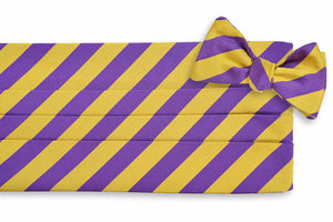 All American Stripe Cummerbund Set - Purple and Gold