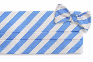 All American Stripe Cummerbund Set - Carolina and White