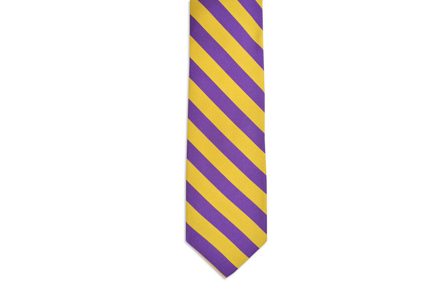 All American Stripe Necktie - Purple and Gold