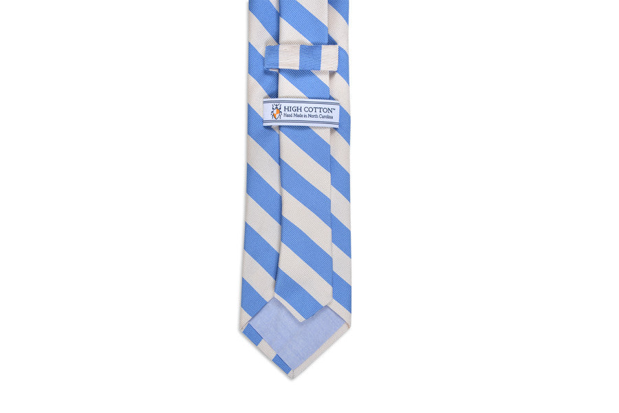 All American Stripe Necktie - Carolina and White