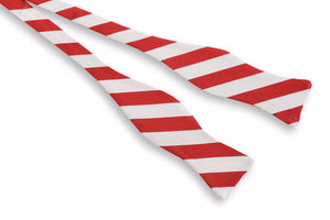 All American Stripe Bow Tie - Red and White