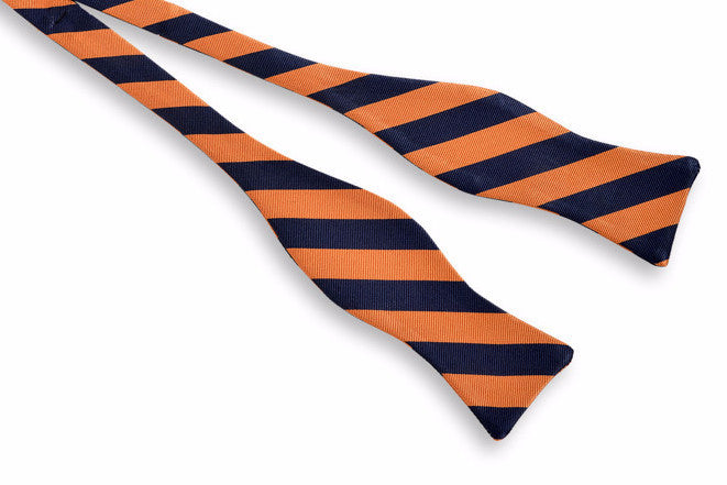 All American Stripe Bow Tie - Orange and Navy