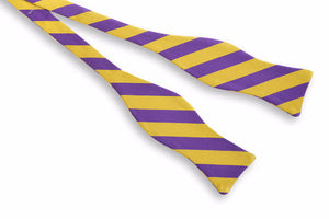 All American Stripe Bow Tie - Purple and Gold