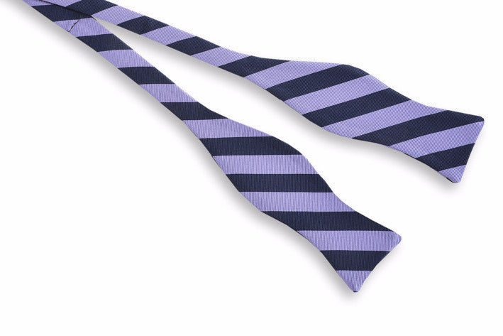 All American Stripe Bow Tie - Lavender and Navy