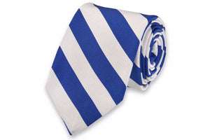 All American Stripe Necktie - Royal and White