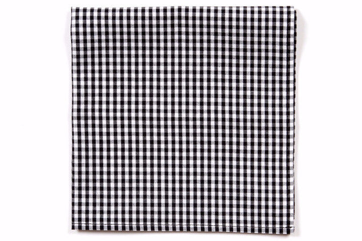 Black Gingham Pocket Square