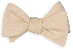 Champagne Woven Dot Bow Tie