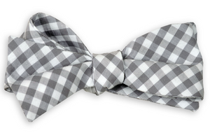 Dark Gray Check Bow Tie