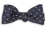 Navy Woven Dot Bow Tie