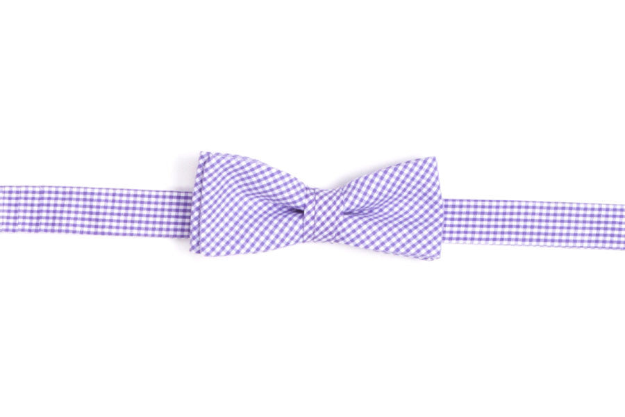 Soft Lavender Mini Check Boy's Bow