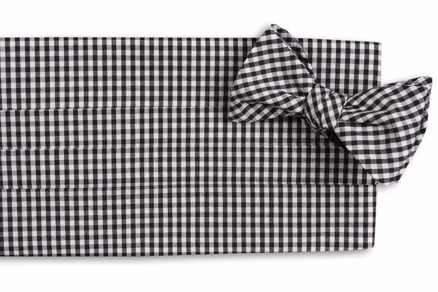Black Gingham Cummerbund Set