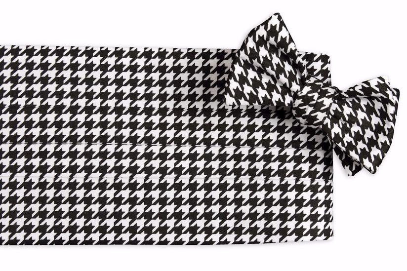 Black Houndstooth Cummerbund Set