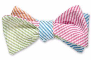 Boater Seersucker Four Way Bow Tie