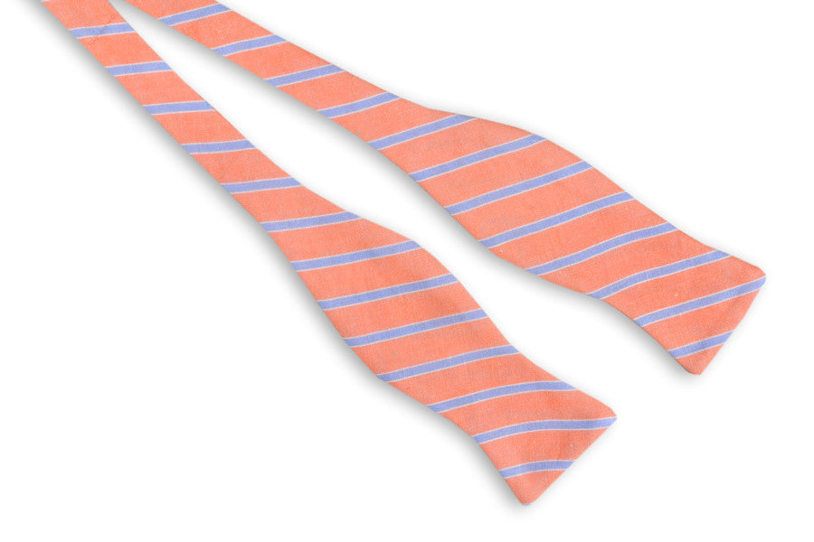 Coral and Blue Linen Stripe Bow Tie