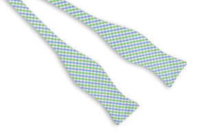 Cornflower and Mint Green Tattersall Bow Tie