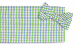 Cornflower and Mint Green Tattersall Cummerbund Set