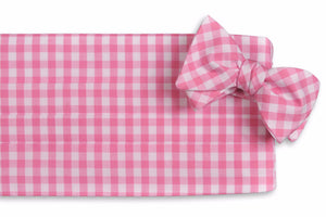 Deep Pink Check Cummerbund Set