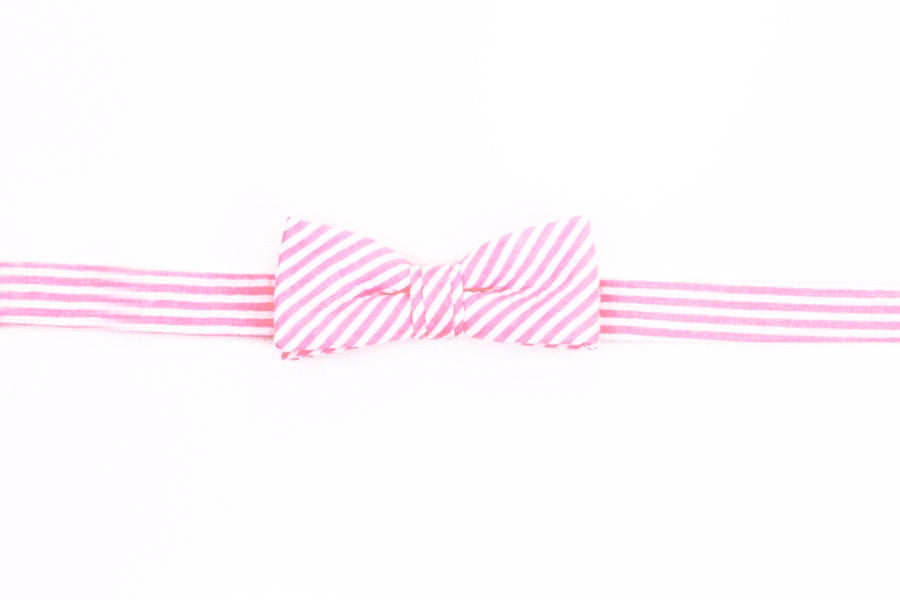Hot Pink Seersucker Boy's Bow