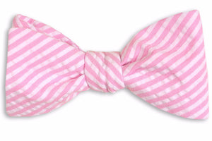 Hot Pink Seersucker Stripe Bow Tie