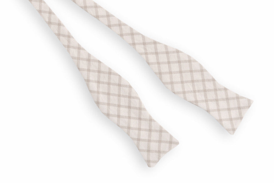 Ivory Taupe Windowpane Bow Tie
