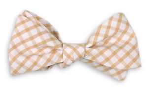 Khaki Windowpane Bow Tie