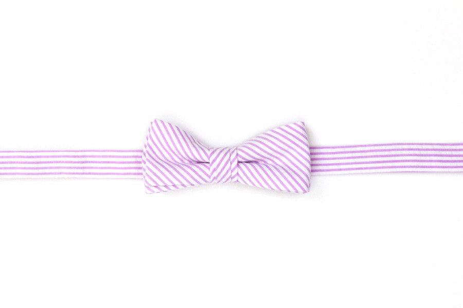 Lavender Seersucker Stripe Boy's Bow