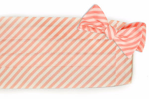 Melon Linen Stripe Cummerbund Set